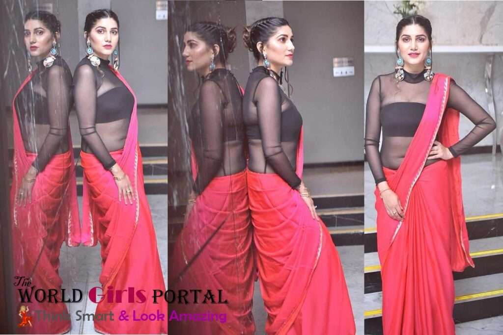 Sapna Chaudhary Beautiful Pink Saree and Black Blouse on Instagram Picture viral  Sapna Chaudhary Hot Video 2021 performed Dhansu dance millions Viewer of VIDEO Sapna Chaudhary beautiful pink and Black Saree instagram 1024x683