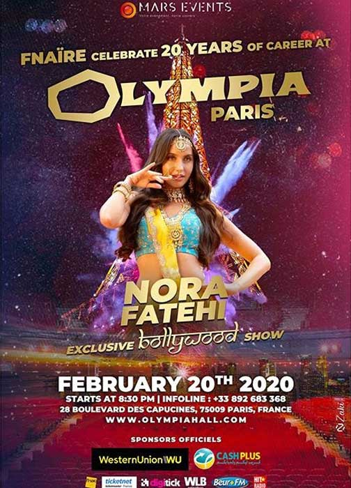 Nora Fatehi Video live dance in Olympia Paris ft. Fnaire France 20 FEB 2020 Bollywood News