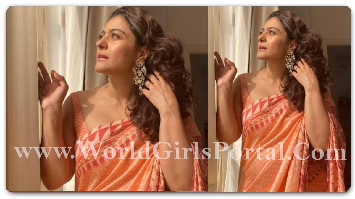 Kajol peach-coloured silk saree a subtle print with sleeveless Blouse - Bollywood Actress Kajol Devgan Share Glamour's Saree