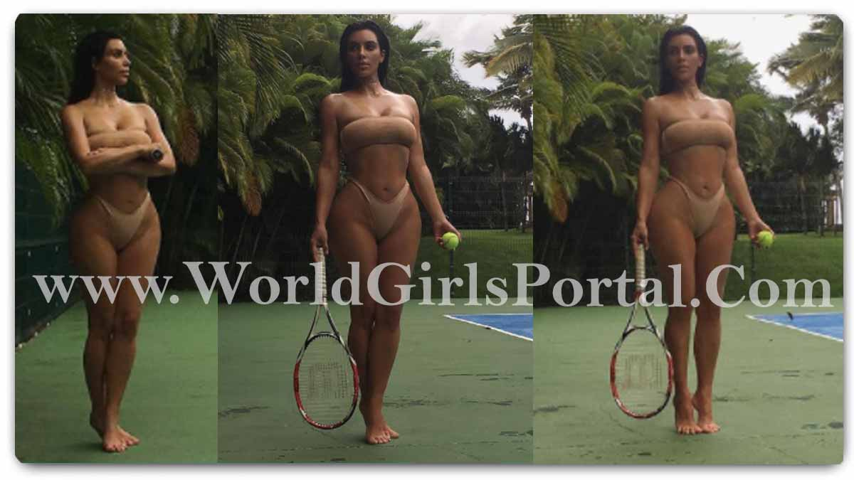 Kim Kardashian Brown Bikini too Play Tennis: American Model #KimKardashian bandeau bikini style, the star opted for a minimal and natural makeup look