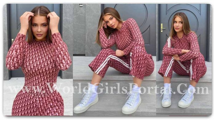 Kylie Jenner Tracksuits and co-ord sets Fashion Style - Hollywood Actress #KylieJenner splashy luxury monogramming Style Share on Social Media