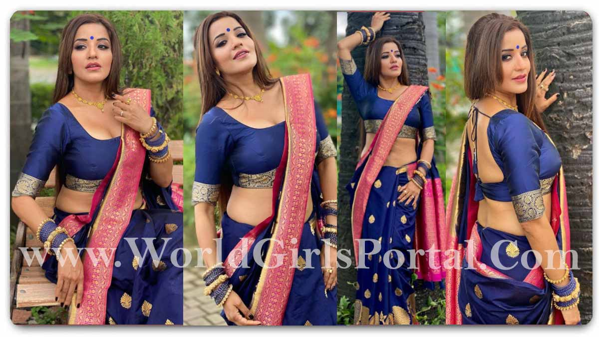Monalisa Hot Blue Saree: Actress Monalisa added glamor to the blue saree, seeing the pictures, you will also be blown away