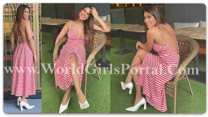 Nia Sharma White-Pink Dotted Maxi Dress outfit Style: #NiaSharma Summer look in High Slit and Backless String Dazzling Pointed Dress