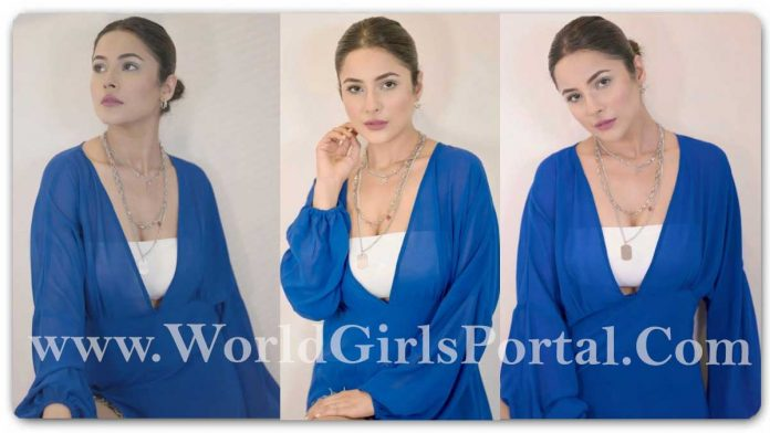 Shehnaaz Gill Blue Breezy Dress Outfit: #ShehnaazGill in an Hot dress is redefining summer fashion in a chic yet stunning way