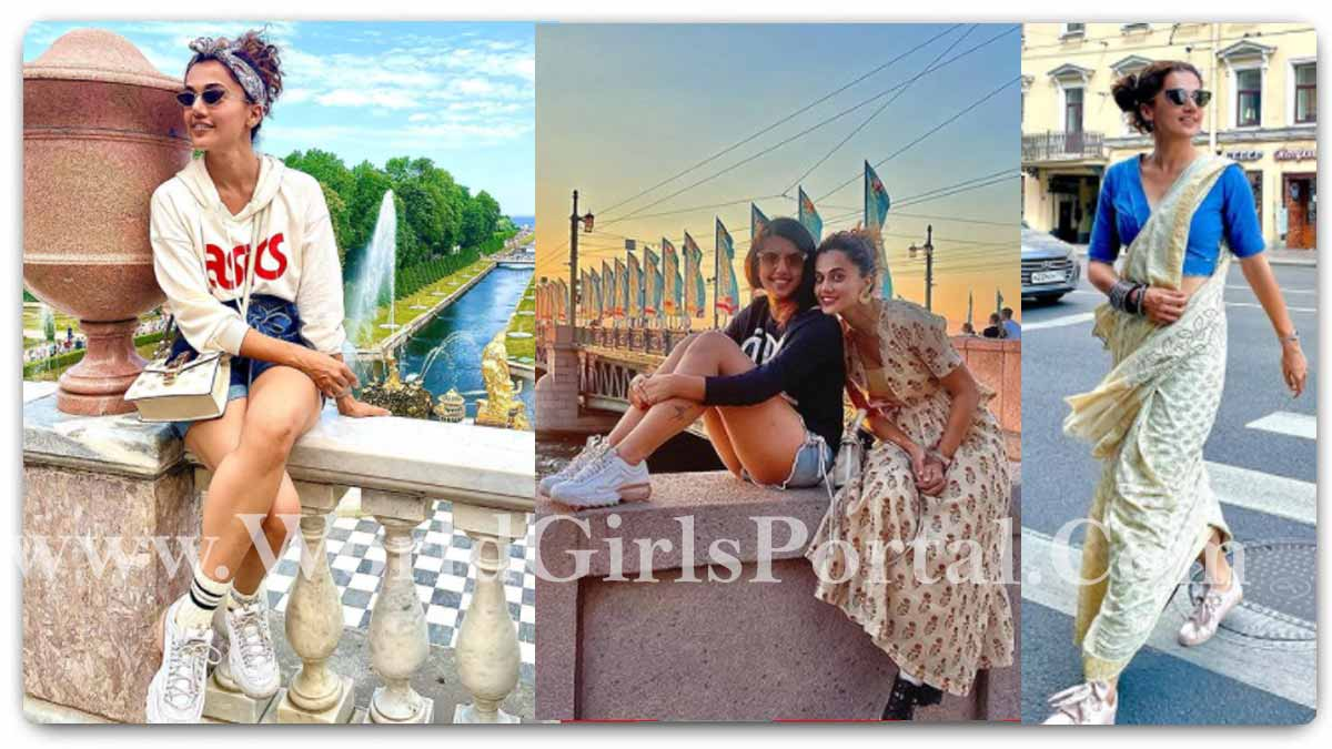Taapsee Pannu Enjoy Russia Vacation Trip: #TaapseePannu Nails Casual Chic, white sweatshirt and paper bag denim shorts in Russia