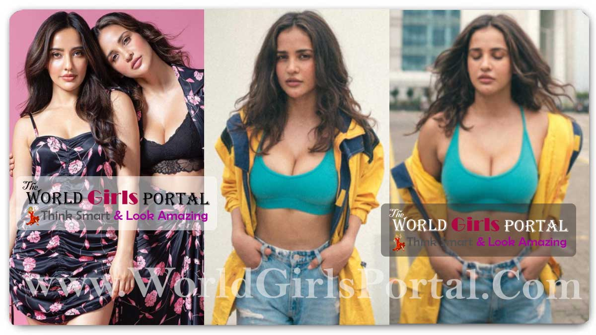 Aisha Sharma bright green sports bra paired contrastingly with a baggy canary yellow jacket and wide-legged straight fit jeans Style