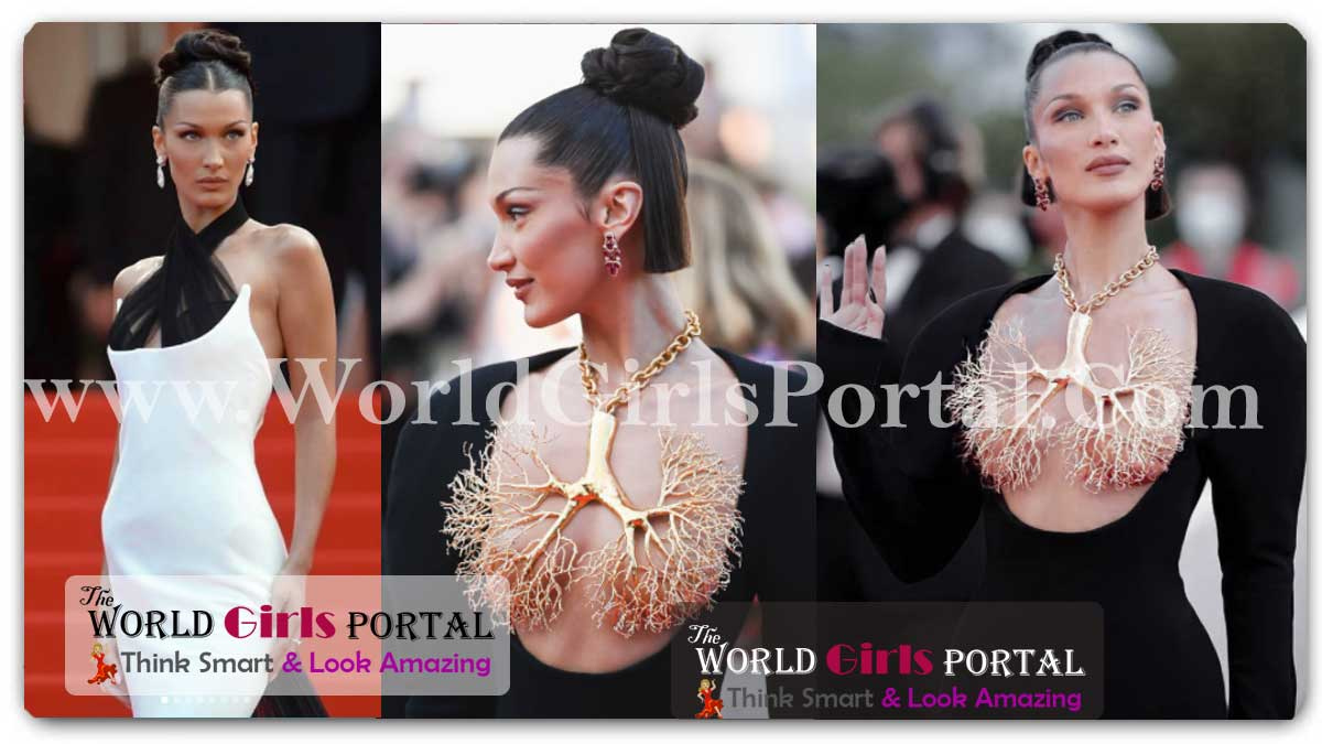 Bella Hadid bold and daring outfit lacked a traditional neckline but covering her chest was a huge gold necklace in the shape of human lungs