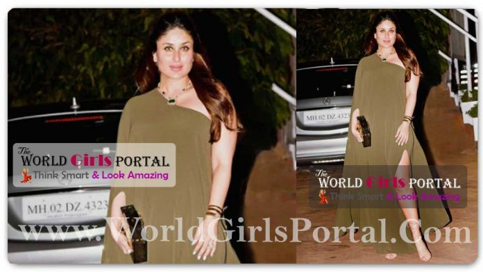 Kareena Kapoor Single-sleeve olive outfit with a thigh-high slit Green Maxi Dress #ThrowbackThursday Celebs Fashion Style
