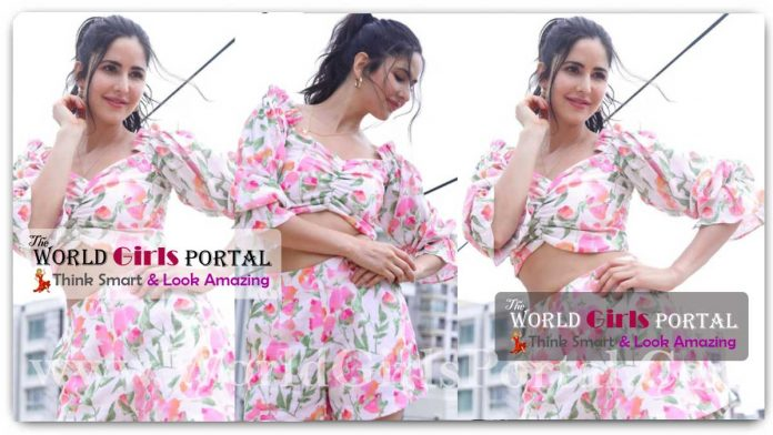 Katrina Kaif Pink Crop top and mini shorts set is a floral dream, Katrina Flower Power Very Seriously In A Pretty Pink Co-Ord Set