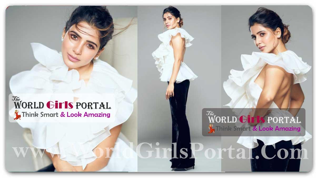 Samantha Akkineni Ruffled Top: Samantha Ruth Prabhu head-to-toe, her ruffled top is stylishly paired with black velvet trousers
