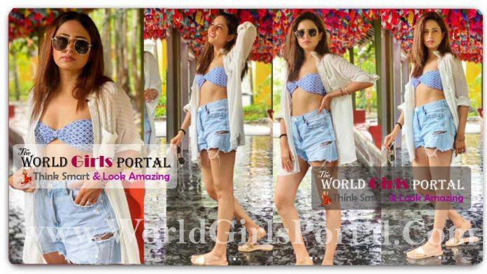 Sargun Mehta Printed bandeau bikini top paired with shorts and a shirt over it, Indian Actress News Portal