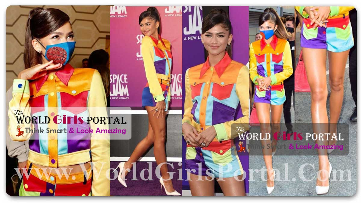 Zendaya channels Lola Bunny with colorful 'Space Jam' premiere look, A New Legacy Very Seriously In A Color Blocked Short Suit