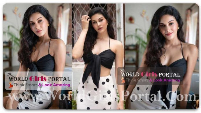Amyra Dastur Black Tie-Front Top And Polka Dot Skirt #AmyraDastur retro chic vibes are right on point - Indian Cutest Actress News Portal