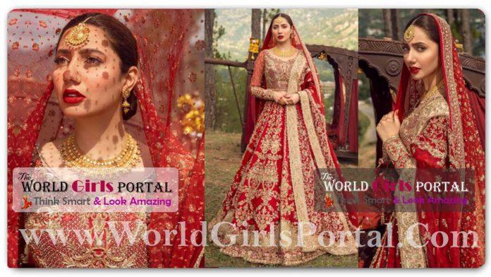 Mahira Khan Red And Gold Lehenga: #MahiraKhan looks mesmerizing in new shoot for designer Faiza Saqlain