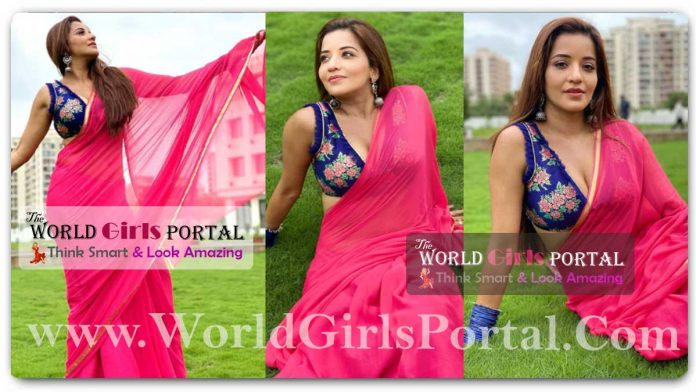 Monalisa Pink Saree with Sleeveless Blue Blouse with Earrings Jhumka looking so Sexy Avatar @AntraBiswas Saree Fashion Style