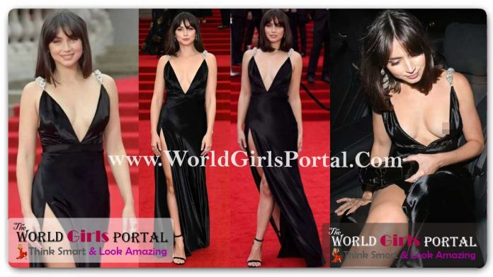 Bond girl Ana de Armas V-Neck thigh-slit black gown - She flashes her toned legs in a daring black gown at the No Time To Die premiere