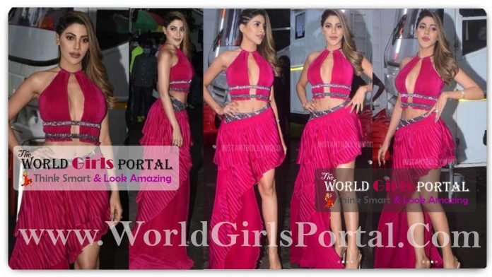 Nikki Tamboli Magenta Thigh High Slit Dress glamourous avatar for the show will set your hearts on fire – view pics