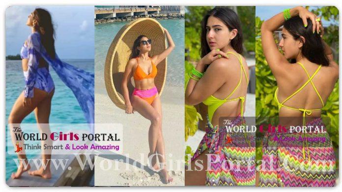 Sara Ali Khan Bikini Photoshoot at Maldives, Sunkissed pics in orange-and-pink, Yellow Bikini with Mini Skirt Looking so Glamour's Fans are Socked Say 'Ohh My God!'