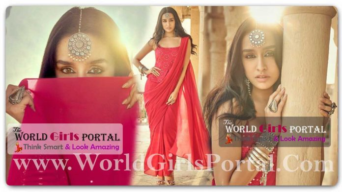 Shraddha Kapoor wine belted saree Modern Elegance Is Shraddha Kapoor In A Gorgeous Red Mirror Work Saree Bollywood Fashion Portal