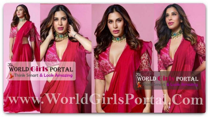 Sophie Choudry Magenta Saree, See Her Best Ethnic Looks, If you want a stylish look in a wedding party, then wear this ruffle saree