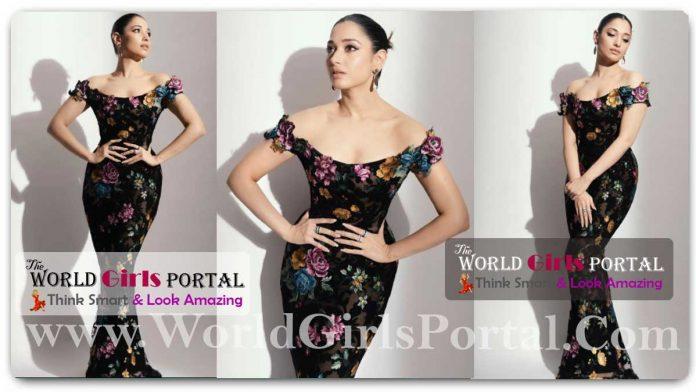Tamannaah Bhatia Floral Sleeveless Bodycon Dress Fashion Style look Like 'Fish' #TamannaahBhatia's Marchesa gown costs as much as a car